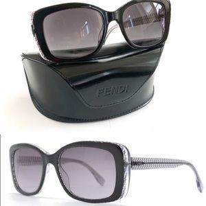 NEW Fendi Black Crystal FF Logo Square Sunglasses